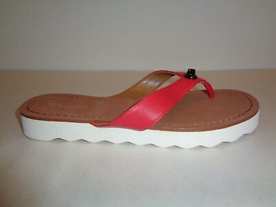 058808d52 Coach Size 6 M SHELLY True Red Leather Flip Flop Sandals New Womens Shoes
