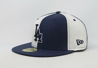 New Era 59Fifty Hat Mens MLB Los Angeles Dodgers White Navy Blue Panels 5950 Cap