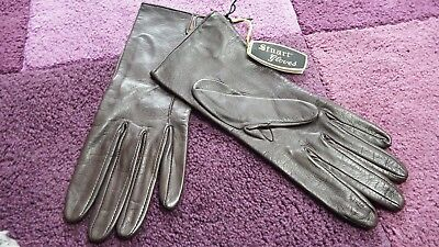 Stuart Madeley LTD size 7.5 soft brown leather look gloves - Made In England