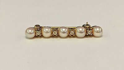Estate 14k Yellow Gold Delicate Elegant Pearl With Diamond Accent Brooch Pin