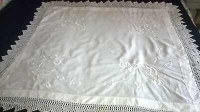 Vintage White Cotton  Tablecloth ,white Hand Embroidery  Crochet Edge