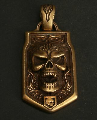 Rare Chinese Copper Handmade Skull Carving Pendant Exclusive Customization