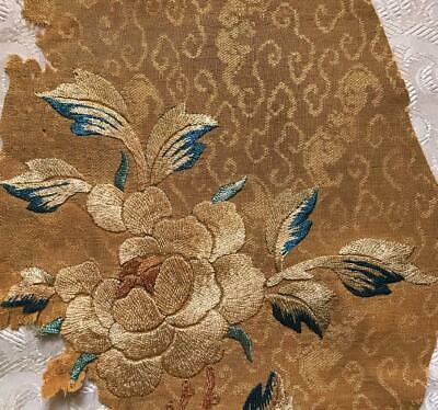 FRAGMENT BEAUTIFUL CHINESE/JAPANESE 19th CENTURY SILK & GOLD EMBROIDERY 102