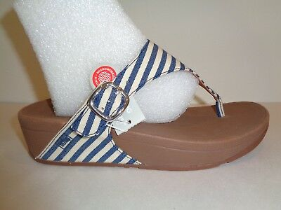 55107b00d FitFlop Size 6 THE SKINNY Blue Striped Thong Flip Flops Sandals New Womens  Shoes