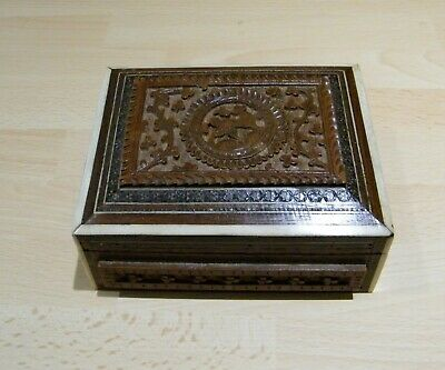 Vintage Anglo/Indian Hard Carved Wood with Bone & Micro Mosaic Inlay Trinket Box