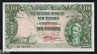 NEW ZEALAND P-161c.  (1967) 10 Pounds - Fleming.  No Thread..  Prefix AA.. gVF