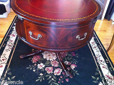 ANTIQUE English Mahogany Rotating Drum Table Ox Blood Leather & Gold Top