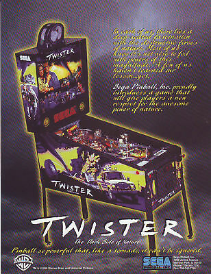 Sega TWISTER Original 1996 Flipper Game Pinball Machine Promo Sales Flyer