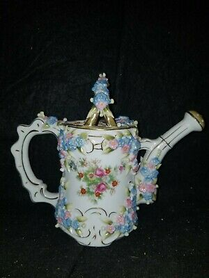 """ANTIQUE VOLKSTEDT GERMAN PORCELAIN FLOWER ENCRUSTED WATERING CAN 6 1/2"""" tall"""