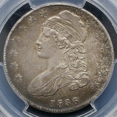 1836 Capped Bust Half Dollar Overton O-123-PCGS AU53-Lettered Edge-CAC Certified