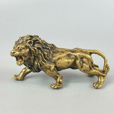 Chinese Rare Antique Collectible Brass Handwork Roaring Lion King Old Statue