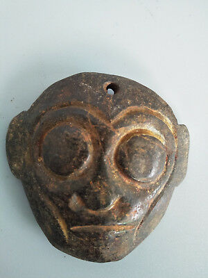 Hongshan culture Magnetic jade stone carved Person's face jade pendant Ee13