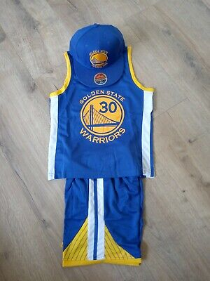 Basketball jersey kids set golden state#30 Curry top+shorts/top+shorts+caps