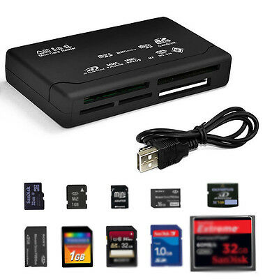Black All in 1 multi memory card Reader Writer for Micro SD SDHC TF M2 MMC CF MS