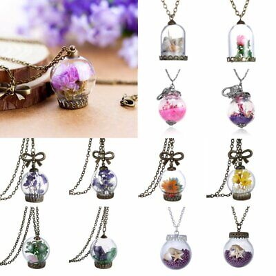 Vintage Nature Real Dried Flower Sea Shell Glass Bottle Pendant Necklace Chain