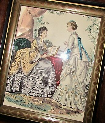 "Antique Walnut Frame Gilt Trim Parisienne Fashion Print 3"" Deep 14""x12"""