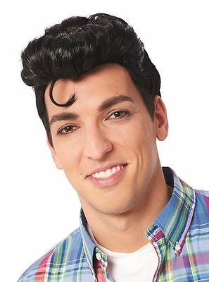 1950S 50'S Adult Mens Doo Wop Greaser Grease Male Costume Wig Black Pompadour