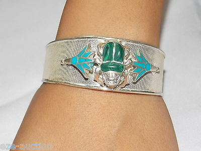 Egyptian Solid Sterling Silver Stamped Handcrafted Bracelet Cuff Scarab & lotus