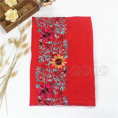 red Large Embroidered Cotton Linen Floral Scarf Pashmina Shawl Wrap Scarves