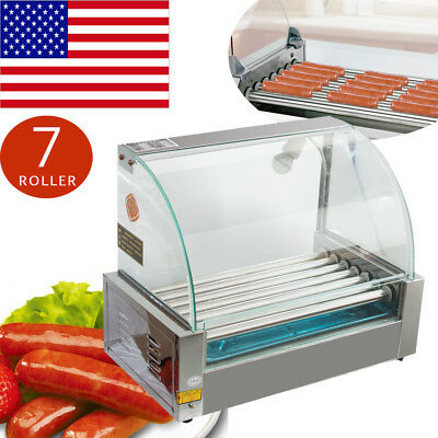 Commercial 18 Hot Dog Hotdog 7Roller Grill Cooker Machine+Cover 1050W Store Shop