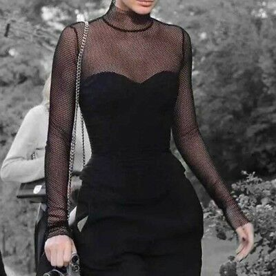 Ladies Hollow Out Mesh Fishnet Goth Gothic Sexy Shirt Long Sleeve Tops Blouses