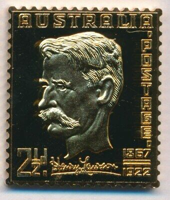 Australia: 1988 24ct Gold on Stg Silver Stamp $99.50 Issue Price - Henry Lawson