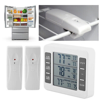 2 Sensors Wireless Digital Freezer Alarm Thermometer Fridge Home Indoor /Outdoor