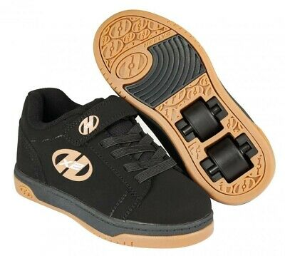 Heelys X2 Dual Up Black Gum Roller Shoes Skating Shoes + Free How to DVD
