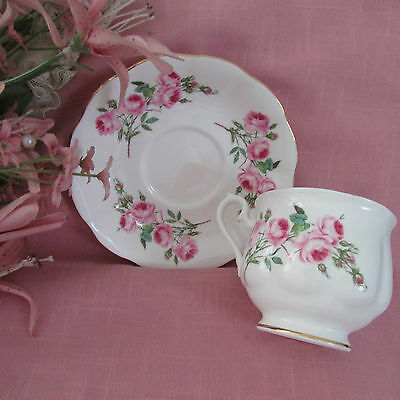 ROYAL ALBERT ... LOVELY ... PETITE PINK ROSES ... ENGLAND ... TEA CUP and SAUCER