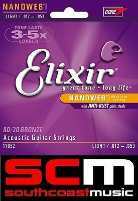 Elixir Nanoweb Acoustic Guitar Strings Light 12-53 11052 80/20 Bronze String Set