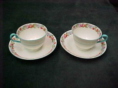 Pair Adderleys Enfiels China Cup Saucer Hand Colored Flowers Turquoise