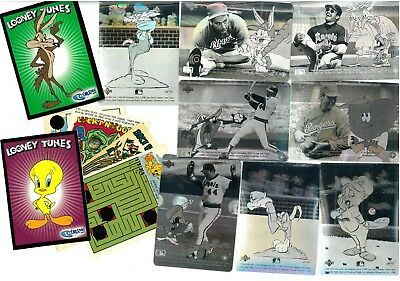 Collection of Looney Tunes Trading Cards from  3 x Sets Upper Deck Baseball More