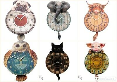 Tickin Animal Cat Owl Dragon Elephant Dog Cow Pig Wall Clock Pendulum Tail