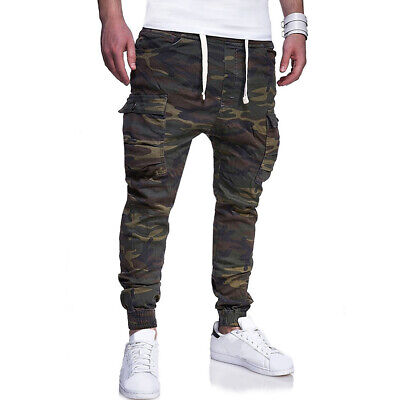 AU Mens Camouflage Joggers Pants Casual Sports Trousers Outdoor Camp Hilking