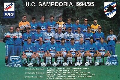 Calcio/Football Cartolina sq. SAMPDORIA 1994-'95 con MANCINI originale