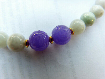 Lavender Jade Necklace with Antique Chinese Carved Shou Beads