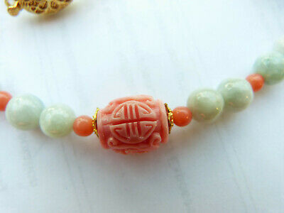 Lavender Jade Necklace with Antique Chinese Carved Shou Coral Beads