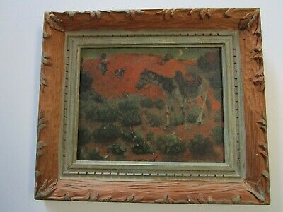 Antique Native American Indian Painting Moon Lit Horse Landscape Christenson