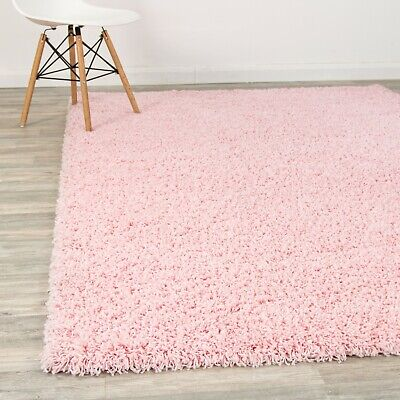 Soft Baby Pink Shag Thick Fluffy Shaggy Rugs Modern Bedroom AREA CARPET RUNNERS