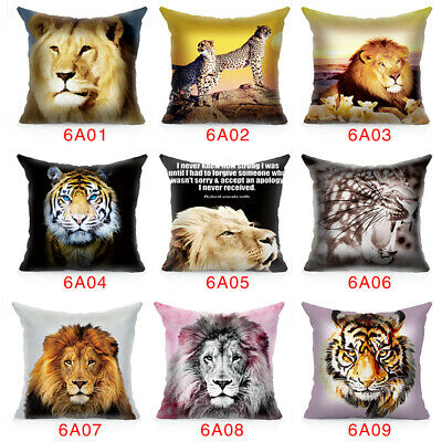 Powerful Lions Tiger King Animal Waist Cushion Cover Pillow Case Home Room Decor