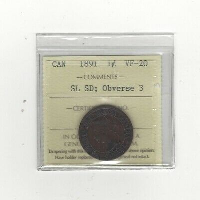 **1891 SL/SD Obv.#3**,ICCS Graded Canadian, Large One Cent, **VF-20**