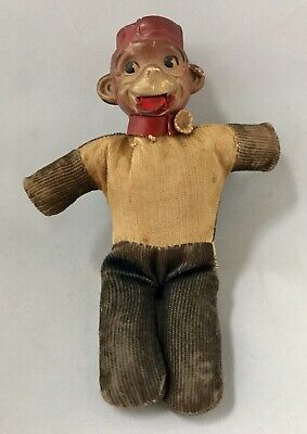 RARE Antique Celluloid Monkey FIGURAL TAPE MEASURE Pin Cushion Japan
