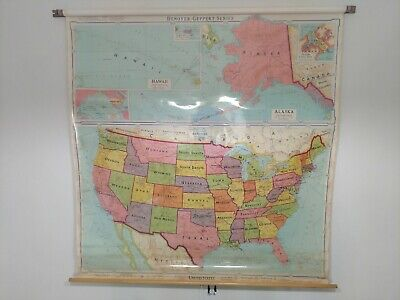 US & World Map - Classroom Pull Down