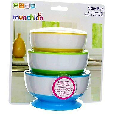 3 Pack Munchkin Stay Put Suction Bowls, 3 Ct