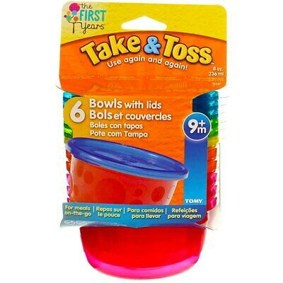 2 Pack The First Years Take & Toss Toddler Bowls, Assorted Colors, 8 oz, 6 Ct