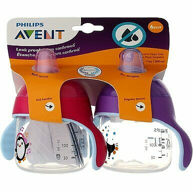 3 Pack Phillips Avent Sippy Cup, Pink/Purple, 7 oz, 2 Ct