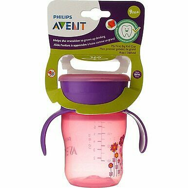 3 Pack Phillips Avent My First Big Kid Cup Drinking Cup, Pink/Purple, 9 oz