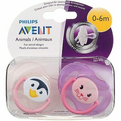 3 Pack Phillips Avent Pacifier, 0-6 months, Animals, 2 Ct