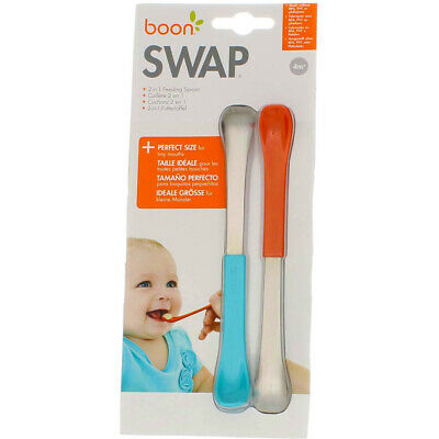 3 Pack Boon Swap 2-in-1 Baby Feeding Spoon, Blue/Coral, 2 Ct