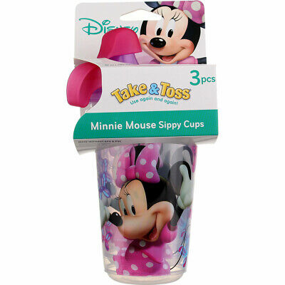 3 Pack The First Years Take & Toss Disney Sippy Cups, Minnie Mouse, 10 oz, 3 Ct